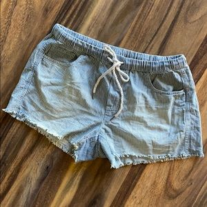 Drawstring Chambray Shorts (aerie) Blue striped.